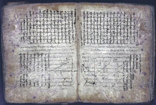كشف الرق الممسوح عن عمل ضائع لأرخميدس، كتبه في أكثر من ٩٠ درجة لإعادة استخدام الرق.