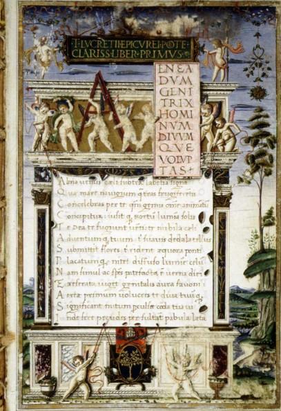 الصفحة الأولى من ١٤٨٣ مخطوطة من القصائد الفلسفية لكريتيوس.