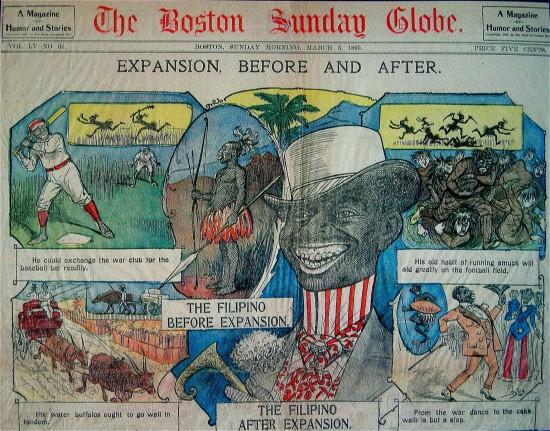 صحيفة تصوّر الفلبيني قبل وبعد التوسع الأمريكي في الفلبين. وتبيّن تحول الفلبيني من إنسان همجي إلى متحضر. بوسطن صنداي قلوب، ٥ مارس، ١٨٩٩.